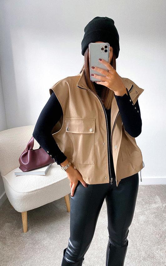 Deena Sleeveless Faux Leather Shirt Jacket