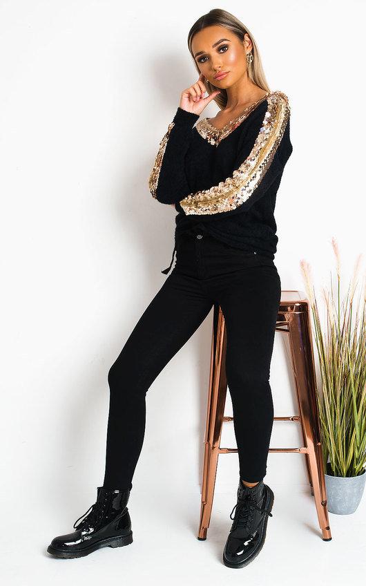 Delia Embellished Knitted Jumper Dress
