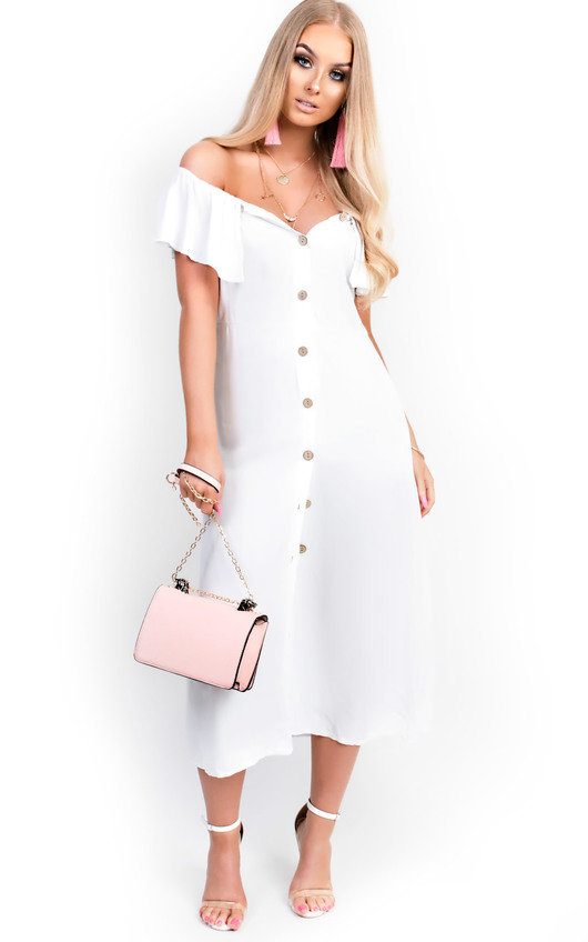 44cedebbeb1 Delilah Off Shoulder Button Up Midi Dress in White | ikrush