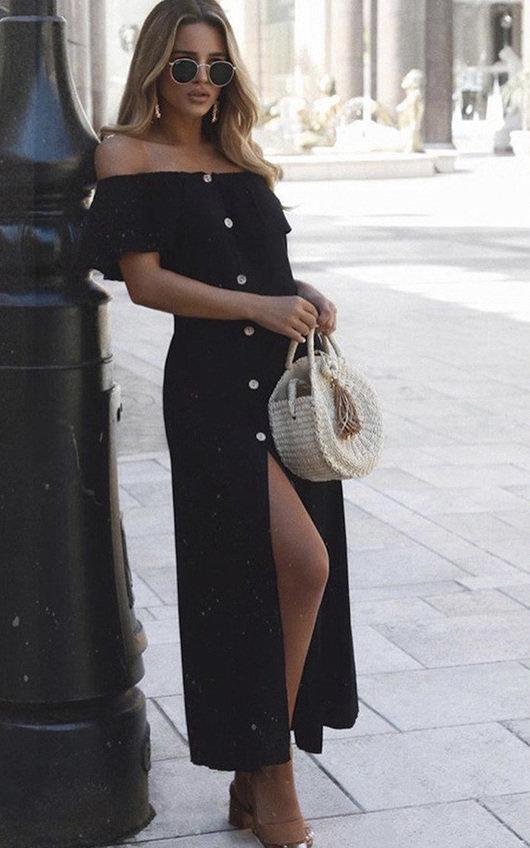 Delilah Off Shoulder Button Up Midi Dress