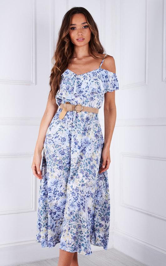 Delis Floral Off Shoulder Floaty Midi Dress