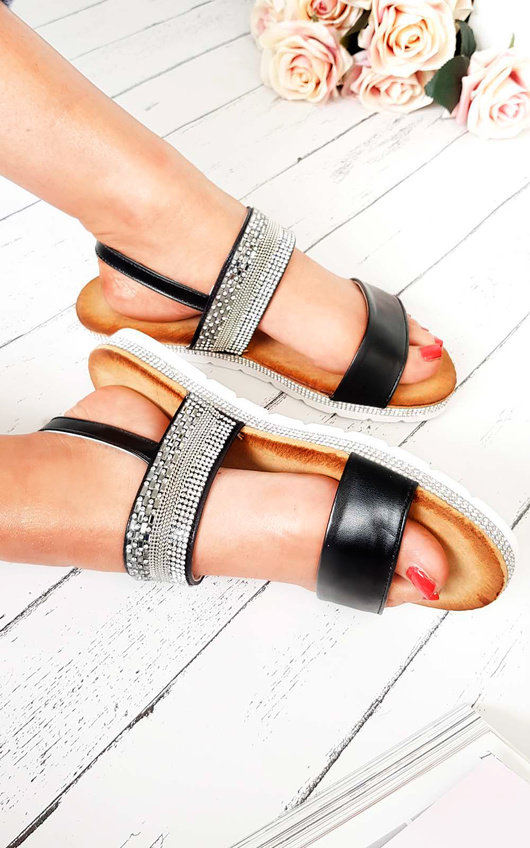 Derya Double Strapped Embellished Sandals
