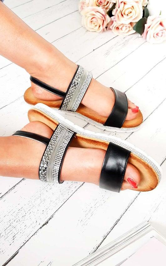 Derya Double Strapped Embellished Sandals