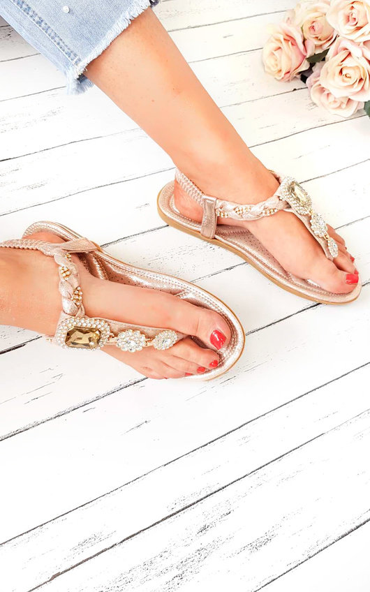 Destiny Diamante Brooch Embellished Sandals