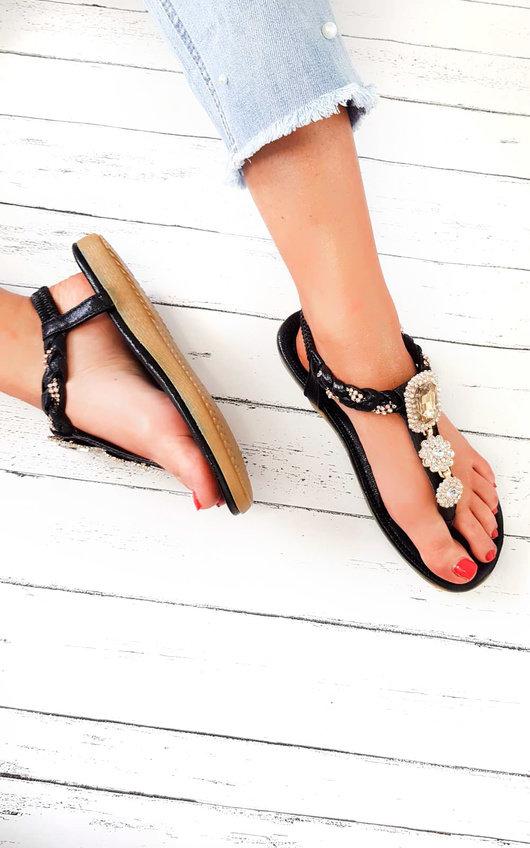 Destiny Diamante Brooch Embellished Sandals