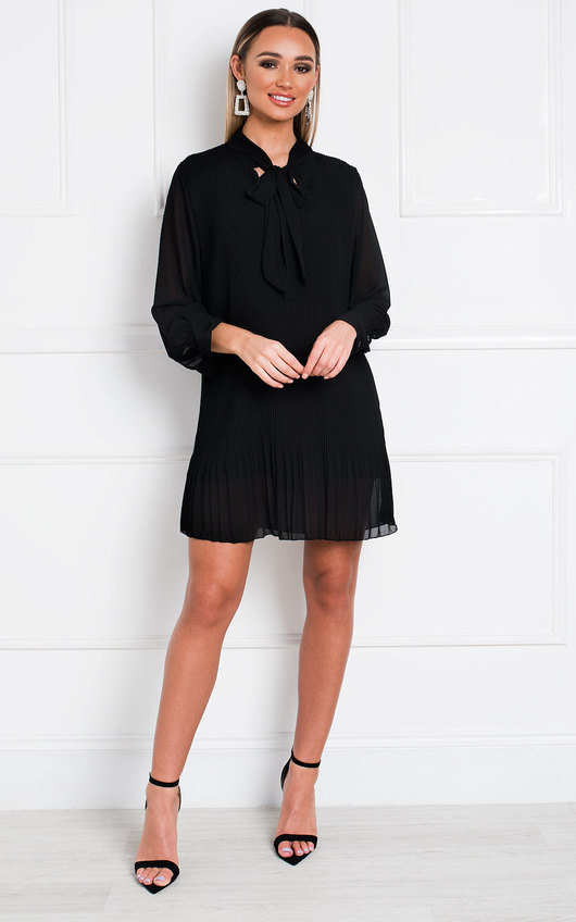Dianna Pleated Bow Shift Dress
