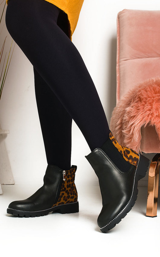 Dionne Leopard Print Ankle Boots