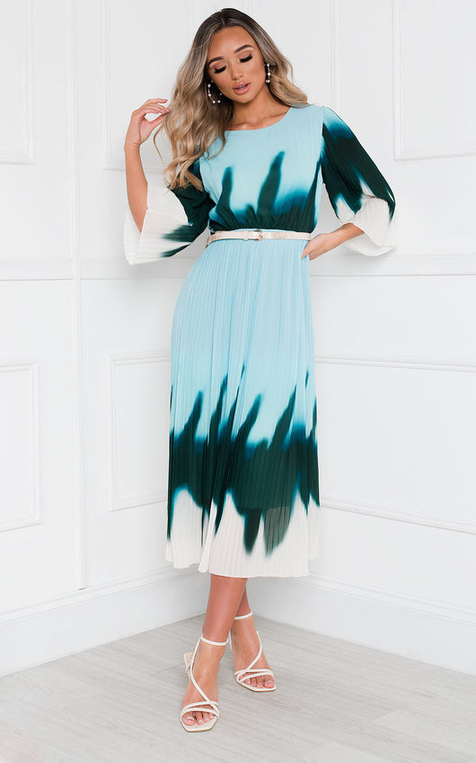 Dionne Tie Dye Ombre Pleated Midi Dress