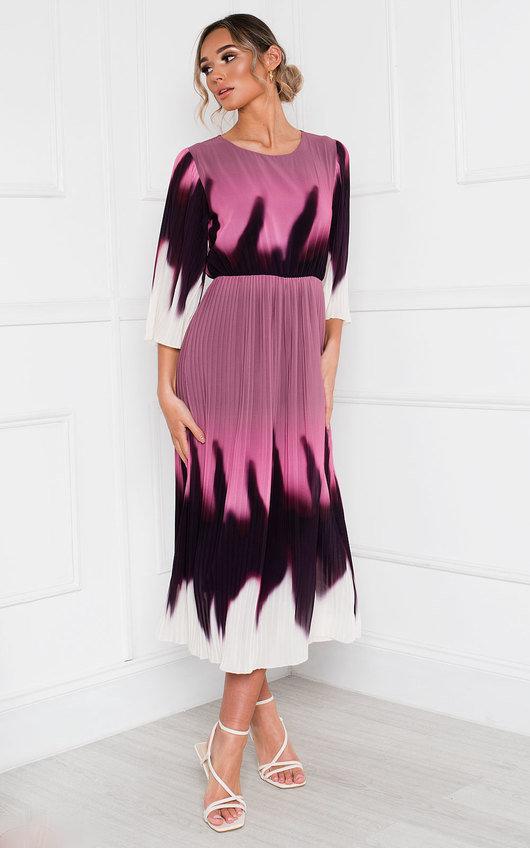 Dionne Tie Dye Ombre Pleated Midi Dress