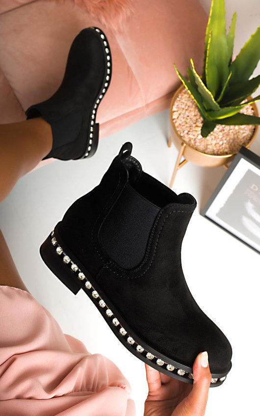 Dolly Faux Suede Diamante Chelsea Boots