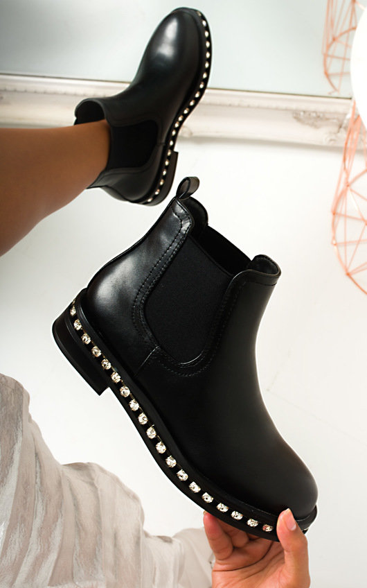 Dolly Faux Leather Diamante Chelsea Boots