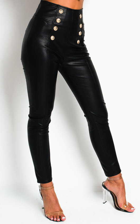 Donna Double Button Faux Leather Trousers