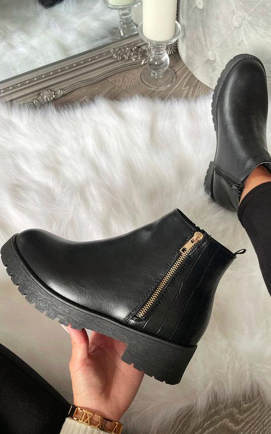 Dora Croc Detail Ankle Boots