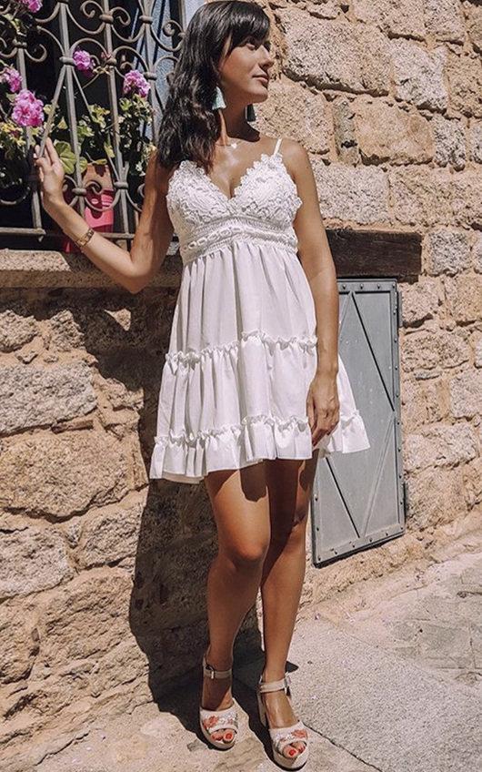 Dora Frill Crochet Backless Dress