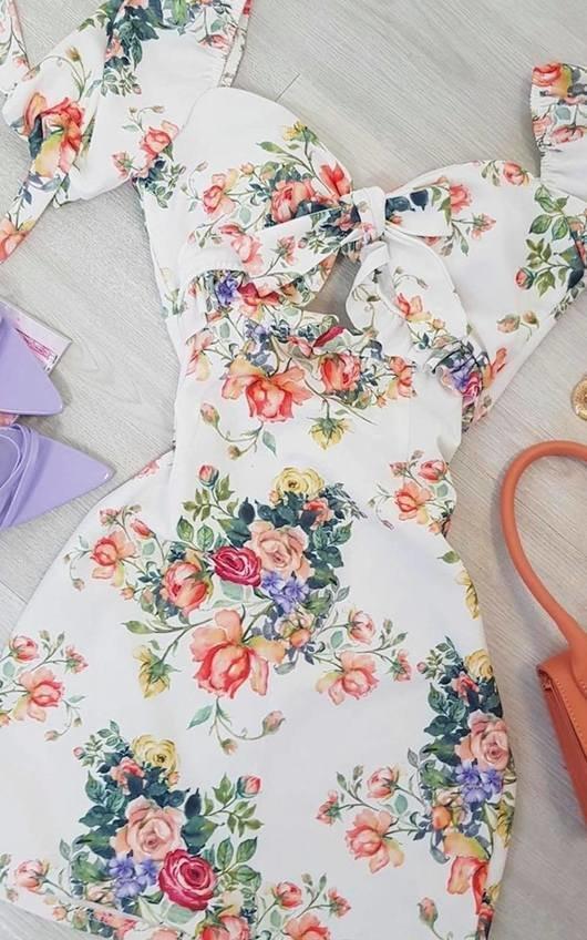 Dove Floral Cut Out Mini Dress