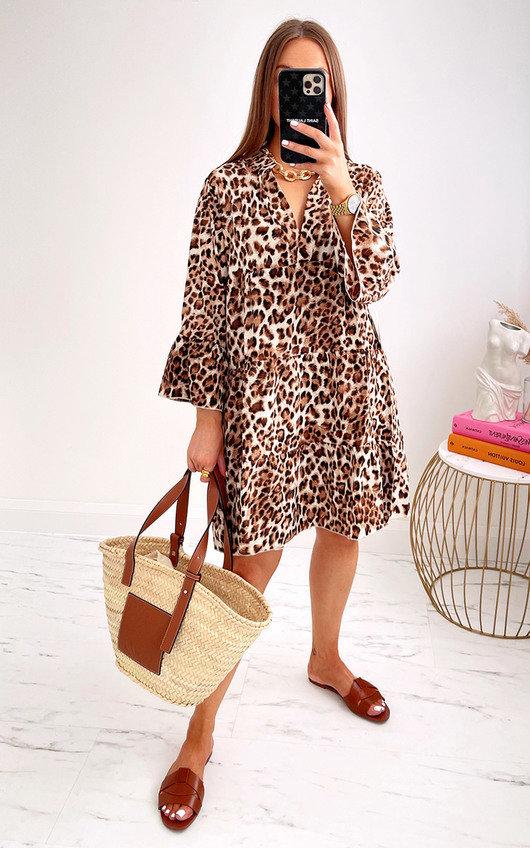 Jelena Tiered Leopard Dress