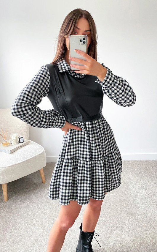 Dua Faux Leather Checked Dress