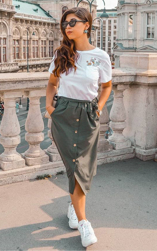 Dylan Button Up Midi Skirt
