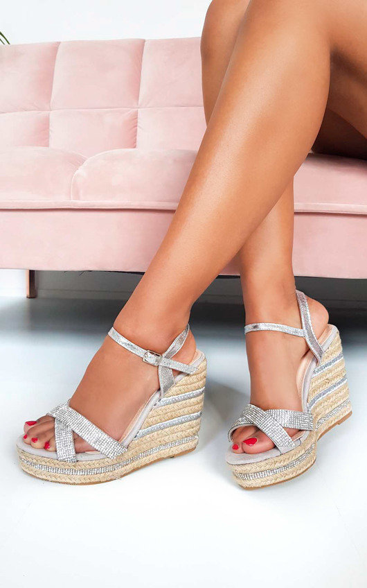 Ebony Diamante Braided Wedged Heel