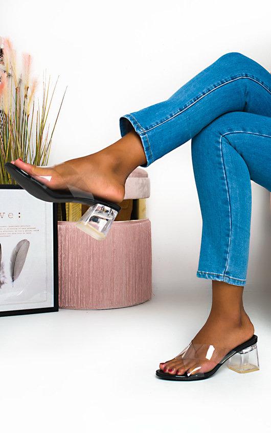 Effie Perspex Crossover Block Heels