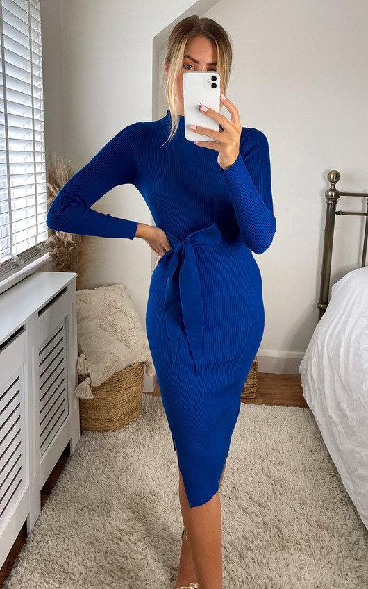 Eledi High Neck Belted Midi Dress