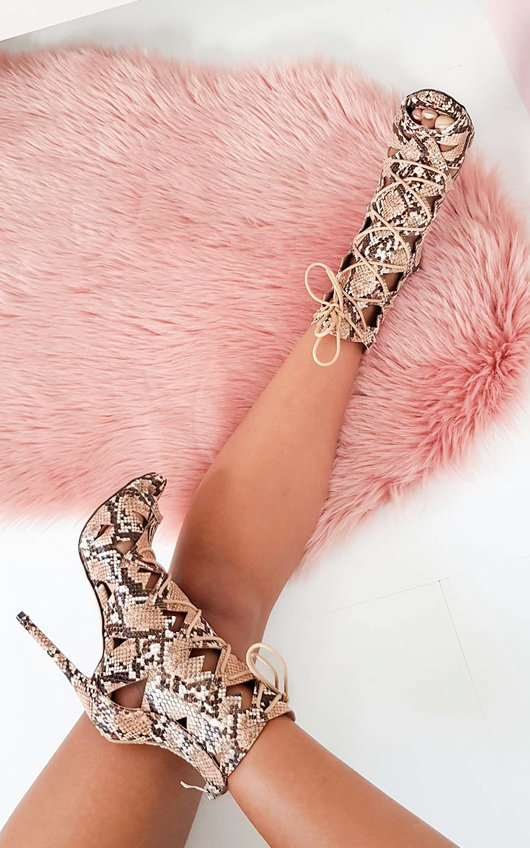 Elena Lace Up Cut Out High Heels