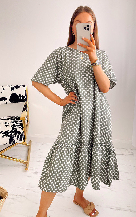 Elena Printed Ruffle Midi Dress