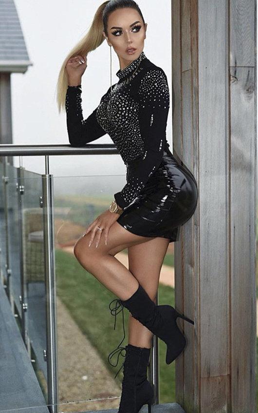 Elina Wet Look Zipped Skirt