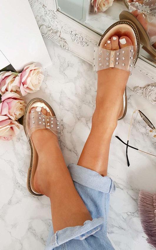 Elis Slip On Diamante Perspex Sandals