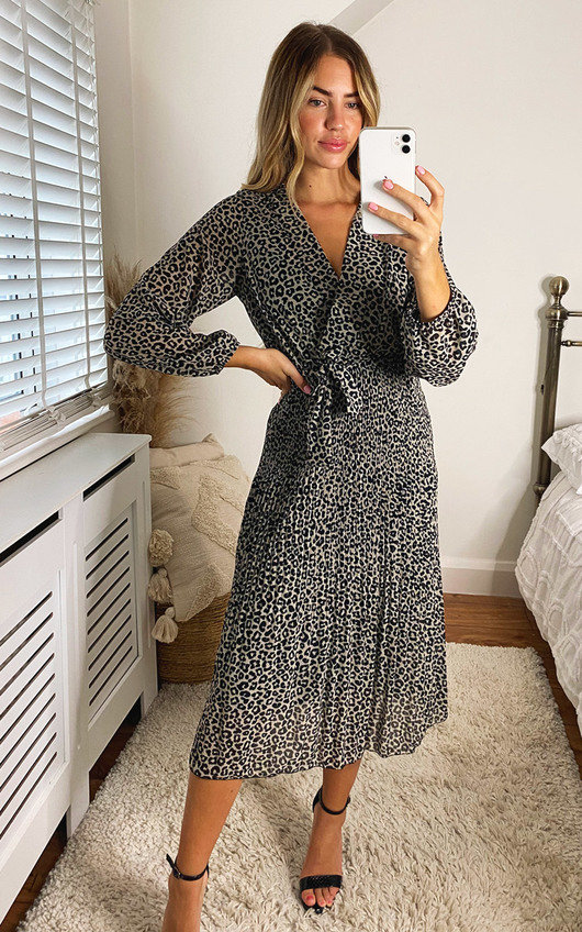 Elisha Animal Print Wrap Midi Dress