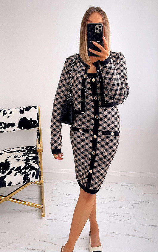 Elizabeth Checked Dress and Cardigan Co-ord with Button Detail