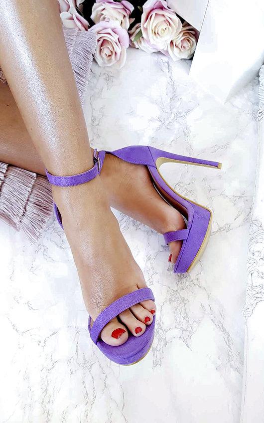 Ella Barely There Faux Suede Platform Heels