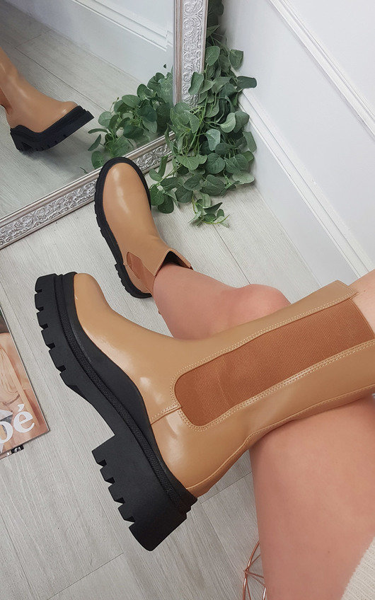 Ella Faux Leather Chunky Boots