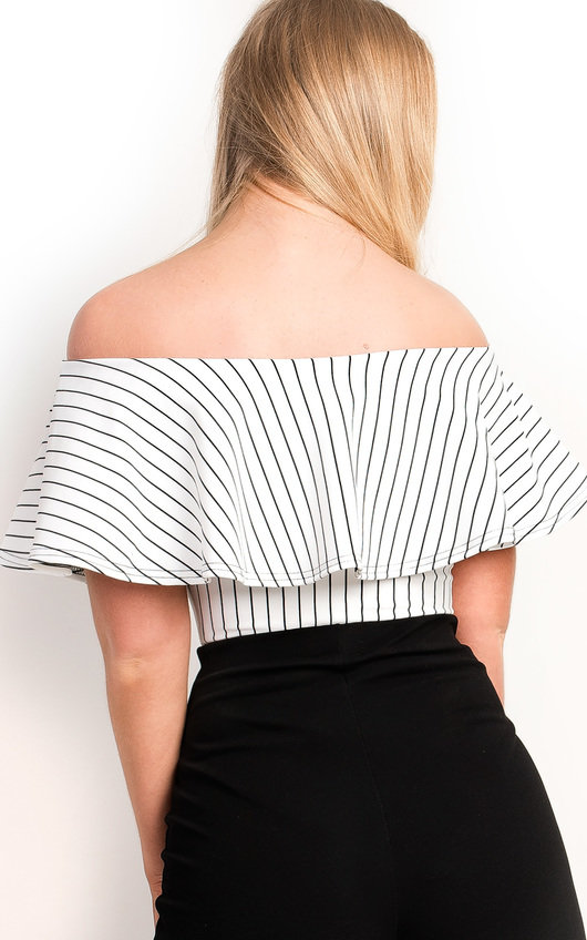 c66343302e Ellah Striped Off Shoulder Bodysuit in White