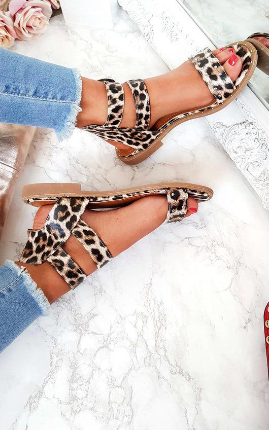 Elletra Double Strap Leopard Print Sandals
