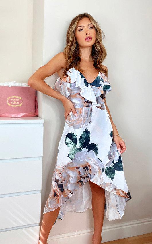 Ellie Floral Wrap Front Midi Dress
