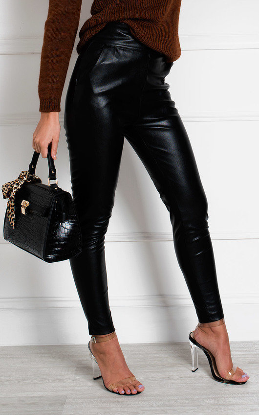 Ellie High Waisted Faux Leather Trousers