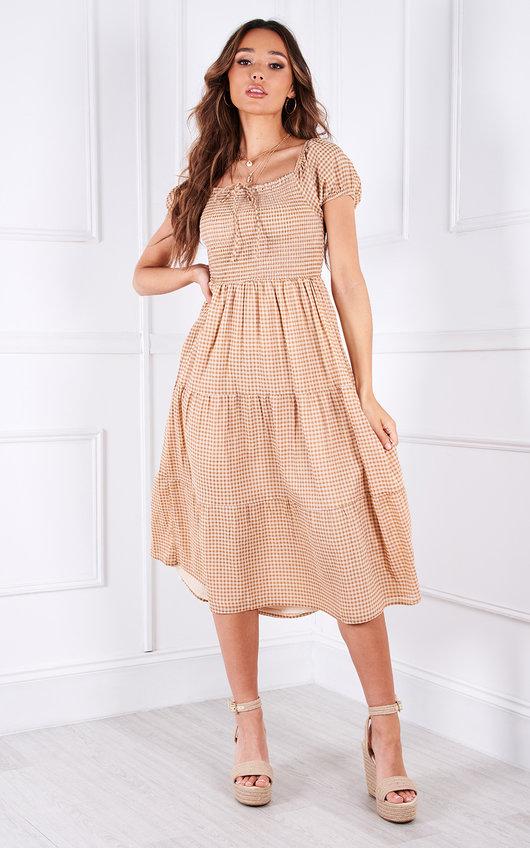Elodie Tiered Puff Sleeve Midi Dress