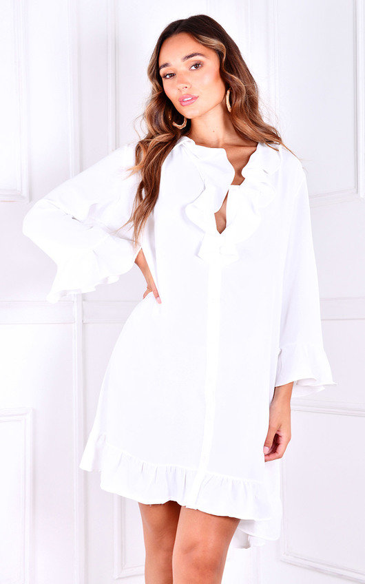 Eloise Ruffle Design Shirt Dress