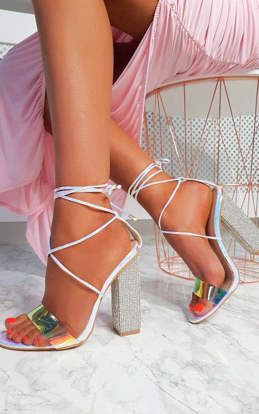 Elsie Iridescent Diamante Embellished Heels