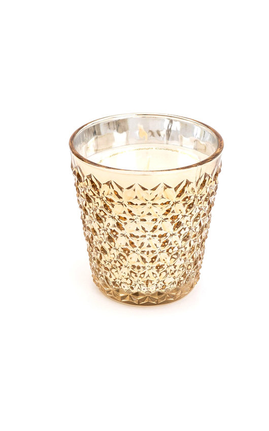 Embossed Glass Wax Filled Pot Candle in Gold