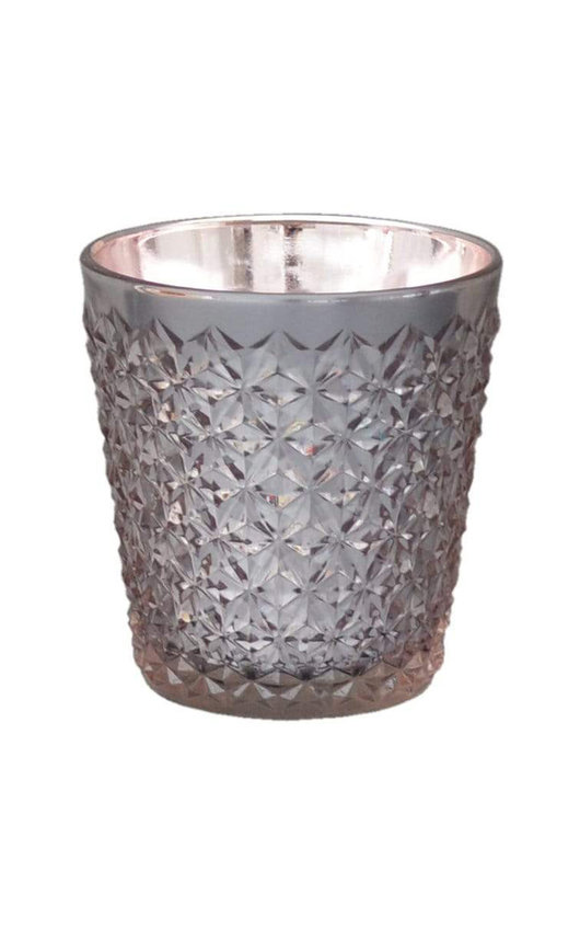 Embossed Glass Wax Filled Pot Candle in Rose Gold