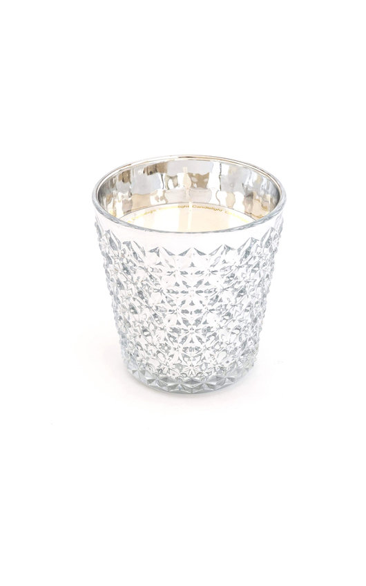 Embossed Glass Wax Filled Pot Candle