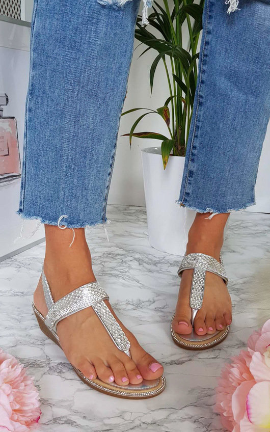 Emie Embellished T-Bar Wedged Sandal