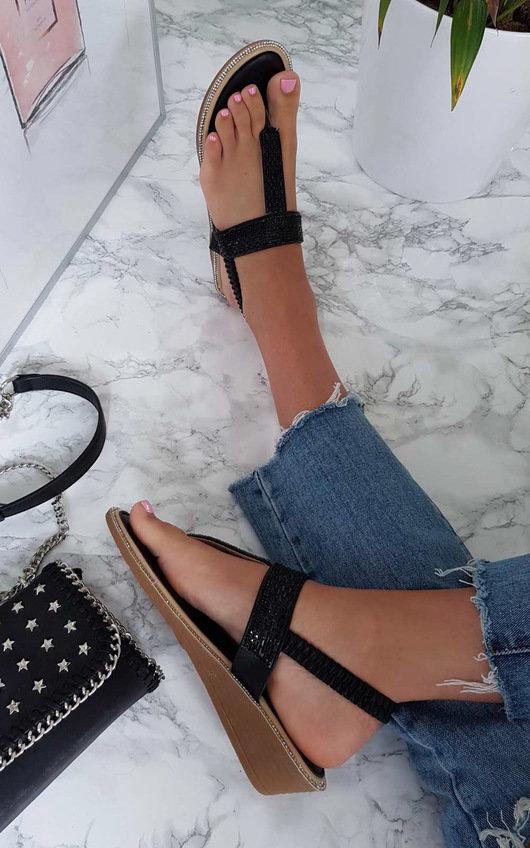 Emie Embellished T-Bar Wedged Sandal
