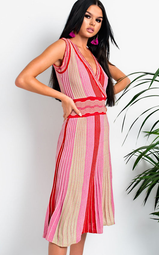 Emilee Pleated Shimmer Midi Dress