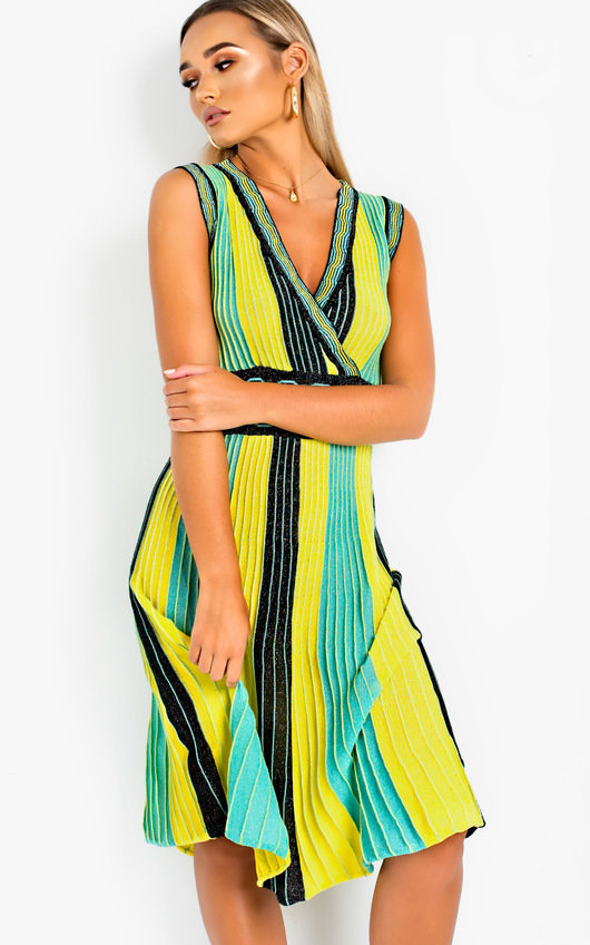 Emilee Pleated Shimmer Midi Dress