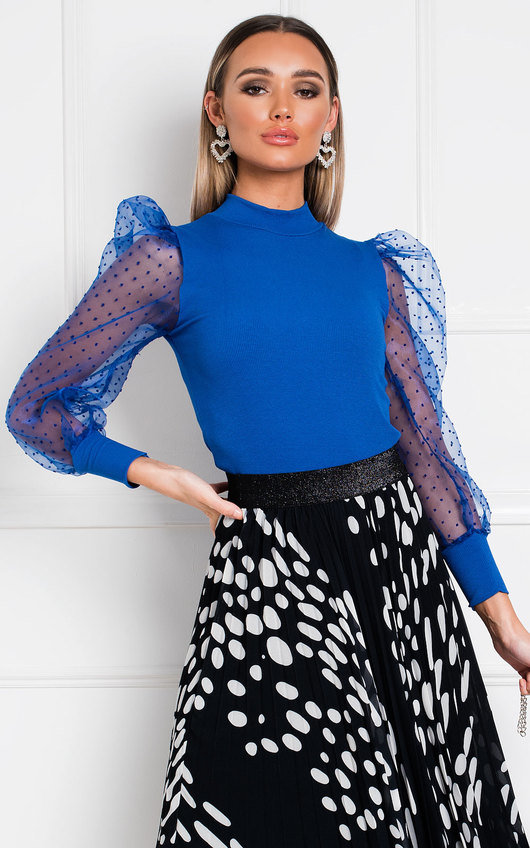 Emilee Polka Dot Sheer Sleeve Top