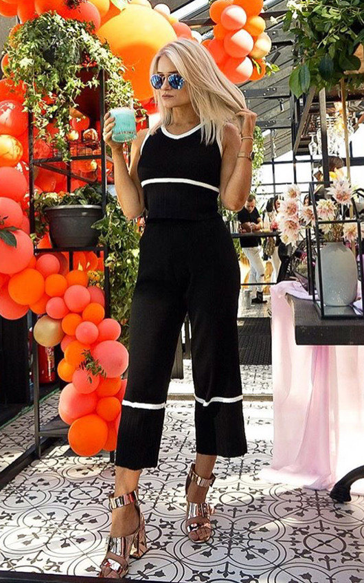 Emilly Culotte Pleated Stripe Co-ord