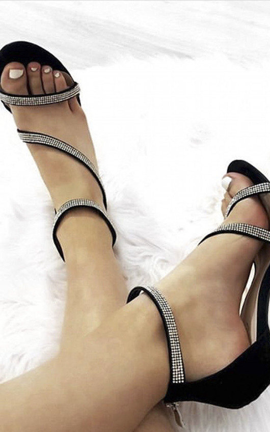 Emily Diamante Strap Barely There Heels